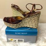 Nine West Shoes | Nine West Dark Brown Croc Peep Toe Wedge Sandal | Color: Brown/Tan | Size: 9