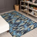 Ivy Bronx Hallberg Striped Tufted Navy Area RugPolyester in Blue/Brown/Navy, Size 72.0 H x 48.0 W x 0.41 D in   Wayfair