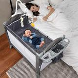 Isabelle & Max™ Bonview 5-in-1 Convertible Portable Upholstered Crib w/ Changer & Storage Metal in Black, Size 11.0 H x 11.0 W x 35.0 D in | Wayfair