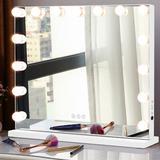 Ebern Designs Freidenberger Frameless Lighted Makeup Mirror in Green, Size 16.9 H x 22.83 W x 4.7 D in   Wayfair CCFDA938B6EB4863B542D158003D51E8