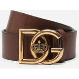 Tumbled Leather Belt With Dg Crosed Logo - Brown - Dolce & Gabbana Belts