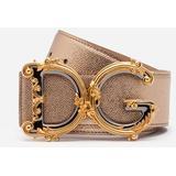 Belt In Laminated Dauphine Calfksin With Baroque Dg - Metallic - Dolce & Gabbana Belts