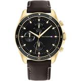 Chronograph Black Leather Strap Watch 44mm - Black - Tommy Hilfiger Watches
