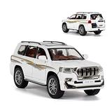 NMBD Diecast & Toy Vehicles 1:24 Scale/Diecast Metal Model for Toyota Land Cruiser Prado SUV Toy Car/Sound & Light/Pull Back/Educational Collection/Gift (Color : White)