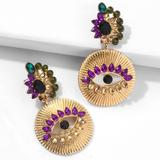 Anthropologie Jewelry   2$35 Mardi Gras Evil Eye Rhinestone Earrings   Color: Green/Purple   Size: Os