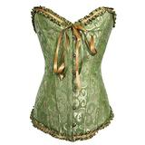 EFOFEI Women's Bustier Corset Satin Lace Up Boned Overbust Corset for Halloween Costume Party Green XS