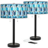 Blue Tiffany Arturo Black Bronze USB Table Lamps Set of 2