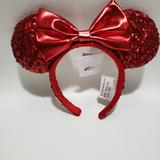 Disney Accessories | Disney Red Mickey Ears Sequin Redd Pirate Bow | Color: Red | Size: Os