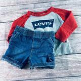 Levi's Matching Sets   Baby Boy 12m Greendog Denim Short + Levis Graphic   Color: Green/Red   Size: 12mb