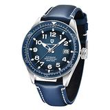 Pgani Design Automatic Watches for Men, Japanese Seiko NH35 Movement, Ceramic Rotatable Bezel Genuine Leather 100M Waterproof Wrist Watch (Silver Blue)