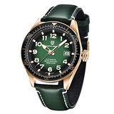 Pgani Design Automatic Watches for Men, Japanese Seiko NH35 Movement, Ceramic Rotatable Bezel Genuine Leather 100M Waterproof Wrist Watch (Gold Green)