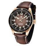 Pgani Design Automatic Watches for Men, Japanese Seiko NH35 Movement, Ceramic Rotatable Bezel Genuine Leather 100M Waterproof Wrist Watch (Golden Brown)