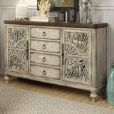 """Bungalow Rose Yakima 60"""" Wide 4 Drawer Rubberwood Sideboard Wood in Brown/White, Size 38.0 H x 60.0 W x 15.0 D in 