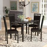 Andover Mills™ Bernice 5 Piece Dining Set Metal/Upholstered Chairs in Black/Brown, Size 30.0 H in | Wayfair ANDO8231 38350798