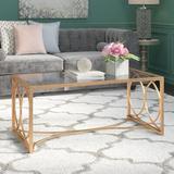 Mercer41 Oxendine Frame Coffee Table Mirrored/Metal in Yellow, Size 20.5 H x 47.5 W x 25.0 D in | Wayfair 591562F3ABFE43F68FF8D45E20B1D206