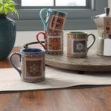 World Menagerie Brimson 4 Piece 16 Oz. Mug Set Ceramic in Blue/Brown/Green, Size 4.25 H x 5.0 W in | Wayfair WLDM3645 38486288