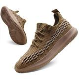 Power Weight Lifting Cross Trainer Shoes Non Slip Exercise Shoes treadmill Work Walking Shoes Mens Comfortable Gym Sneakers Slip on Casual Tennis Lightweight Workout Walk Shoes Men Brown Size 11