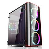 #1 Aeroshot Tower Powertrain PC Gaming Computer Case Cheap Towers with Front RGB Lights Slots for RGB LED Fan Parts and Amazing Cooling with Glass Panel