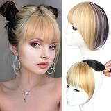 Linen Golden Bangs Dyed Air Bangs Clip in Bangs 100% Real Human Hair Extension Top Hairpieces for Womem with Bangs,Crown Topper Hair Piece Clip in Hair Piece for Hair Loss/Thinning Hair