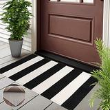 Black and White Outdoor Rug Doormat with Non-Slip Rug Pad Gripper - 2'x3', Porch Rug Indoor Outdoor Area Rug, Cotton Woven Farmhouse Washable Door Mat for Front Layered Kitchen Bathroom Laundry Room