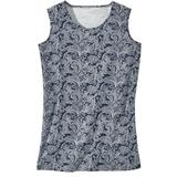 Haband Womens Essential Sleeveless Tee, Solid & Print, Navy Paisley, Size L