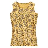 Haband Womens Essential Sleeveless Tee, Solid & Print, Sunshine/Navy Butterflies, Size L