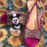 Kate Spade Shoes | Kate Spade~Sling Back Heels~Hot Pk~Glitter~Euc | Color: Pink/Red | Size: 6.5