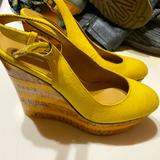 Nine West Shoes | Nine West Sling Back Platforms, Size 7, Yellow | Color: Yellow | Size: 7