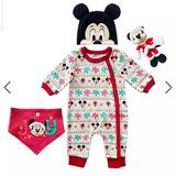 Disney Matching Sets   Mickey Mouse Holiday Gift Set For Baby   Color: Black/Red   Size: 3-6mb