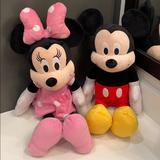 Disney Toys | Disney Mickey Mouse 18 Inch Plush | Color: Black/Cream | Size: Mickey & Mini Each 18 Inch Tall