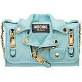 Women's Wallet Genuine Leather Coin Case Holder Purse Card Biker - Blue - Moschino Wallets