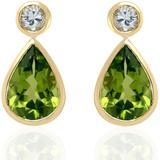 18kt Yellow Gold Pear Shape Dangle Earring Peridot White Sapphire Jewelry - White - Artisan Earrings