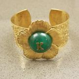 Anthropologie Jewelry | Anthropologie Initial Cuff Bracelet | Color: Gold/Green | Size: Os