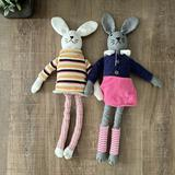 Anthropologie Toys   Anthropologie Stuffed Plush Bunnies (2)   Color: Gray/Pink   Size: Osbb