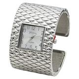 Blekon Collections Analog Quartz Womens Wide Cross Patterned Bangle Watch (Silver)