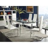 Orren Ellis Anannya 7 - Piece Extendable Dining Set Glass/Metal/Upholstered Chairs in Gray, Size 32.0 H in | Wayfair