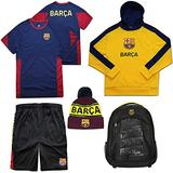 Icon Sports World Soccer Ultimate Fan Pack (Youth Medium, FC Barcelona Youth Black)