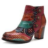 NUHEEL Vintage Ankle Boots for Women Low Heel, Women's Bohemian Handmade Boots Waterproof Splicing Floral Pattern Block Heel Short Boots Side Zipper Leather Boots with Warm Lining Light Tan 39
