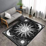 Vintage Retro Antique Sun and Moon Area Rugs Non-Skid (Non-Slip) Floor Rug Carpet Soft Cozy Washable Accent Rug Yoga Mat for Indoor Living Dining Room Playroom and Bedroom Area 60 x 39 inch