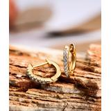 Barzel Women's Earrings - Crystal & 18K Gold-Plated Prong-Set Huggie Earrings
