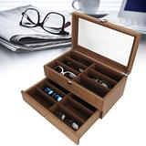 Glasses Organizer, 12 Slots Glasses Box Wooden Double Layer Glasses Display Case Box Organizer Decoration With Transparent Glass Lid