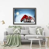 Aluffay Christmas Red Truck Jigsaw Puzzles Premium Quality Christmas Moon Night Red Truck 1000 Pieces Wooden Jigsaw Puzzle for Adults Kids Puzzle Game 20 Inch x 30 Inch