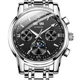 Mechanical Watches for Men,OLEVS Self Winding Watches Men Swiss Automatic Watches No Battery Waterproof Stainless Steel Moon Phase Wristwatch Classic Black Dial Men's Watch Day and Date Luminous