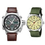 2 Mens Watches Bundle. Waterproof Military Watches for Men Quartz Watch Business Casual Fashion Wrist Watches Yellow Green+Silver Brown