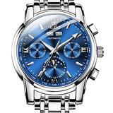OLEVS Swiss Automatic Self Winding Mens Watches Luminous Hands Calendar Mechanical Watches Luxury Dress Stainless Steel Moon Phase Watches for Men Waterproof Blue Dial Wrist Watch