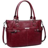 S-ZONE Women Leather Tote Bag Top Handle Satchel Large Shoulder Handbag Work Purse