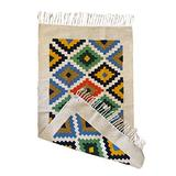 """Rug //Kilim //Runner - Handmade - Wool and Cotton - 2'3"""" X 4'7""""- Kitchen Rug - Area Rug - Bedside Rug - Colorful - Blue // Natural // Off-White - Green - Yellow -Black -"""