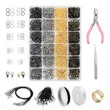 AGOOBO Open Jump Rings,3965 pcs Jewelry Making Repair Kit with Open Jump Rings, Lobster Clasp, Black Lasso Strap, Waxed Necklace Cord, Jewelry Pliers for Jewelry Making Supplies and Necklace Repair