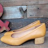 Madewell Shoes | Madewell Leather Slip On Wooden Heel Shoes Size 7 | Color: Tan/Yellow | Size: 7
