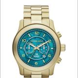 Michael Kors Accessories | Michael Kors Watch Hunger Stop Runway Gold Watch | Color: Blue/Gold | Size: Os